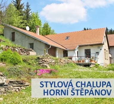 Prodej chalupy s terasou, garáží, zahradou a jezírkem s vodopádem, Horní Štěpánov