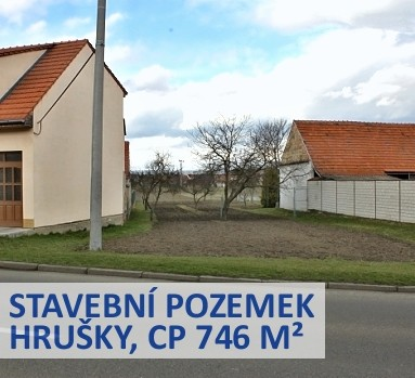 Prodej stavebního pozemku o CP 746 m², Hrušky