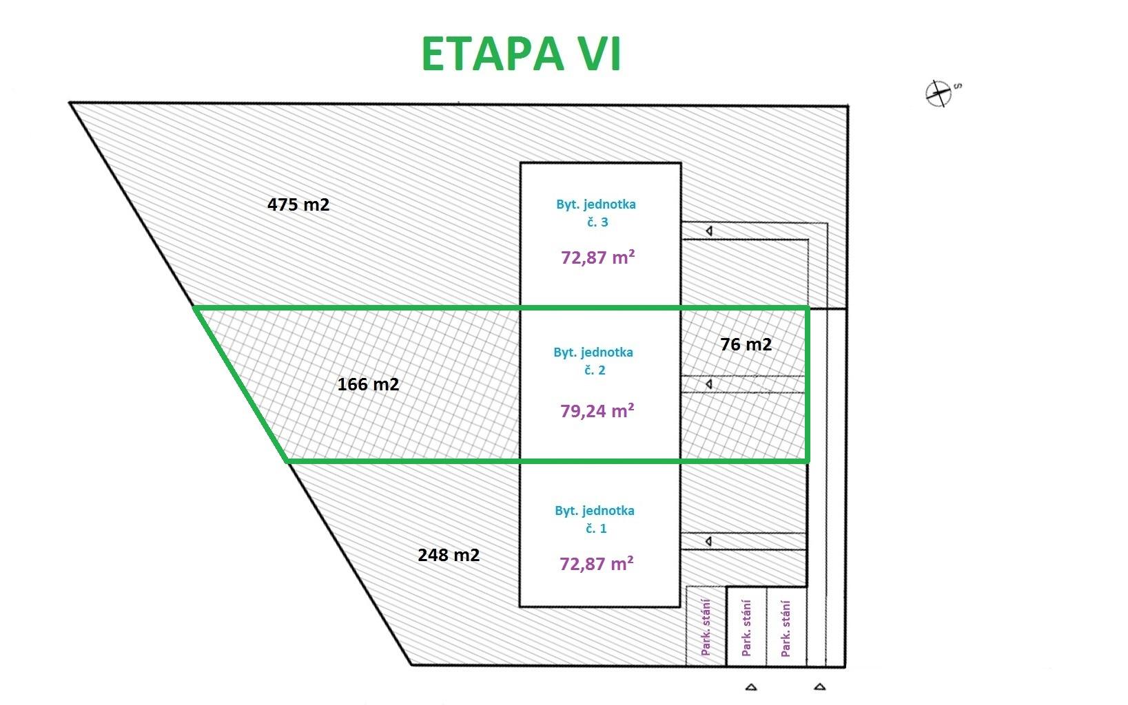 Prodej VI. etapy výstavby bytů 3+kk se zahradou, CP 321 m² s parkovacím stáním v obci Šanov