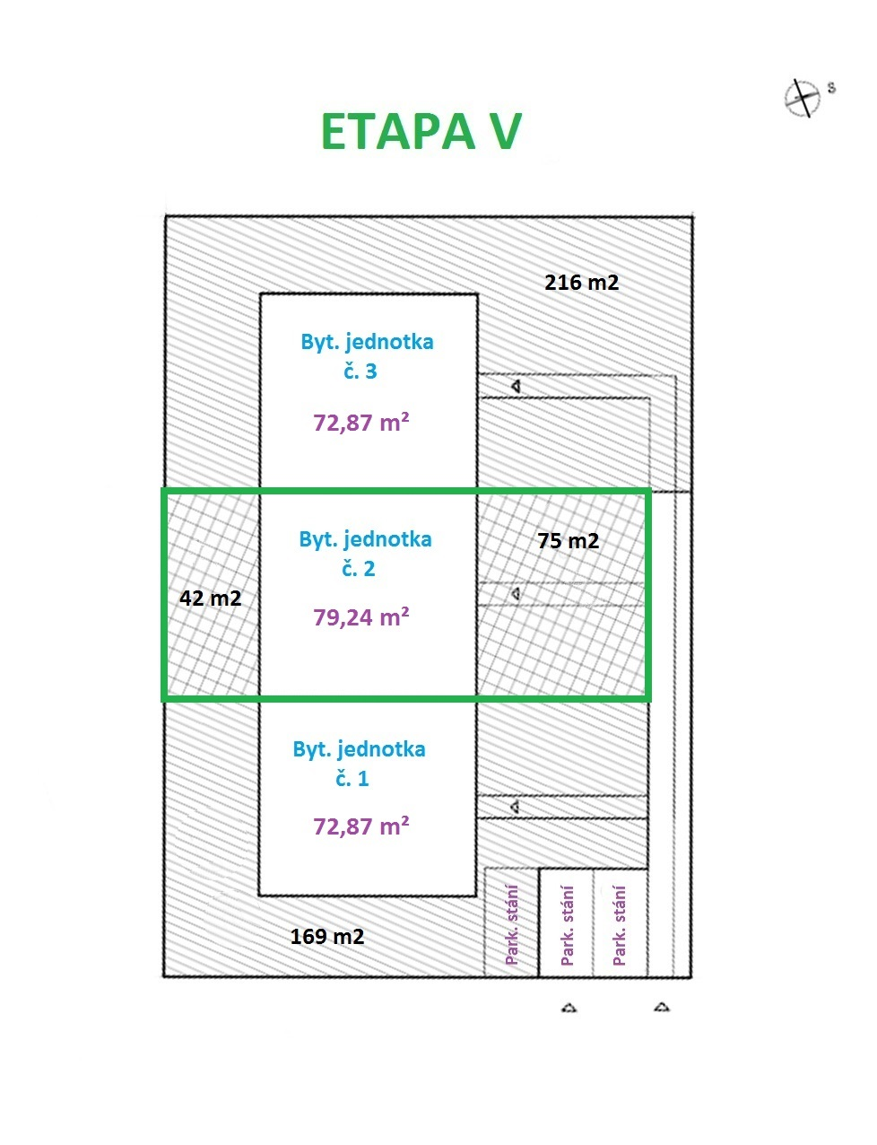 Prodej V. etapy výstavby bytů 3+kk se zahradou, CP 196 m² s parkovacím stáním v obci Šanov